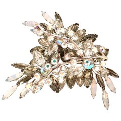 1950'S Monumental Silver & Austrian Crystal Abstract Floral Dimensional Brooch
