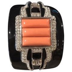KJL Kenneth Jay Lane Faux Coral Diamante Black Enamel Hinged Cuff Bracelet