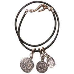 King Phillip Sterling and Leather Coin Necklace