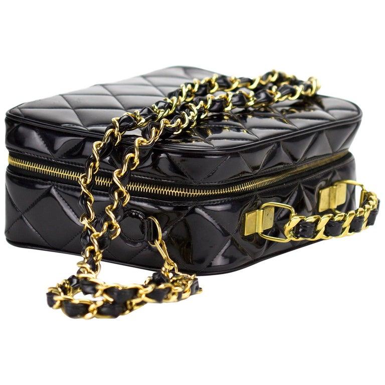 Chanel Vintage Black Quilted Patent Vanity Shoulder Crossbody Quilted Tote Bag  For Sale