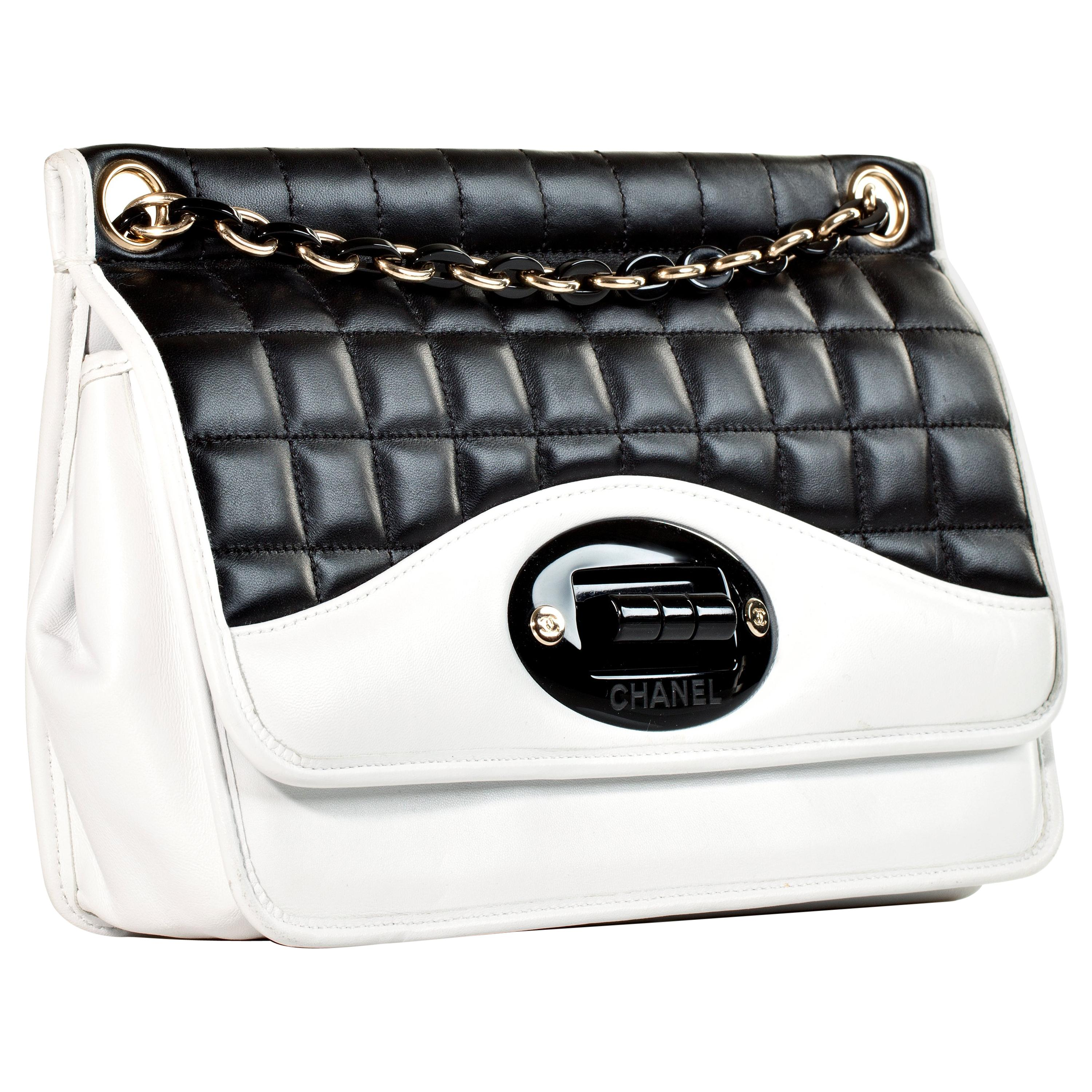 Chanel Two Tone Black and White Flap Bag Rare Limited Edition