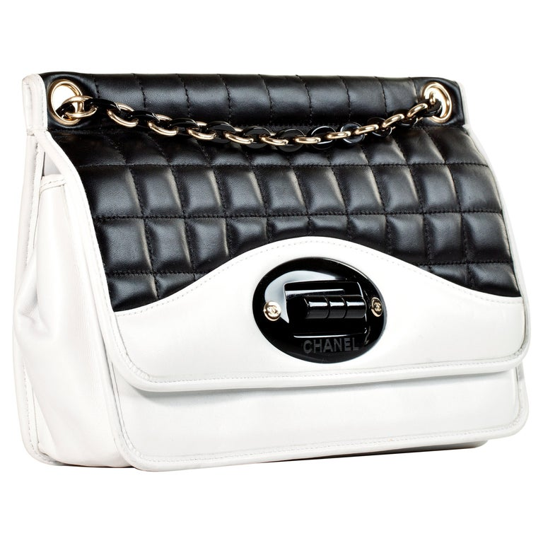 66550e35c296 Chanel Two Tone Black and White Flap Bag Rare Limited Edition For Sale