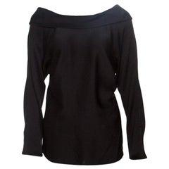 Hermes Black Hammered Silk Dolman Sleeve Draped Back Detail Top M