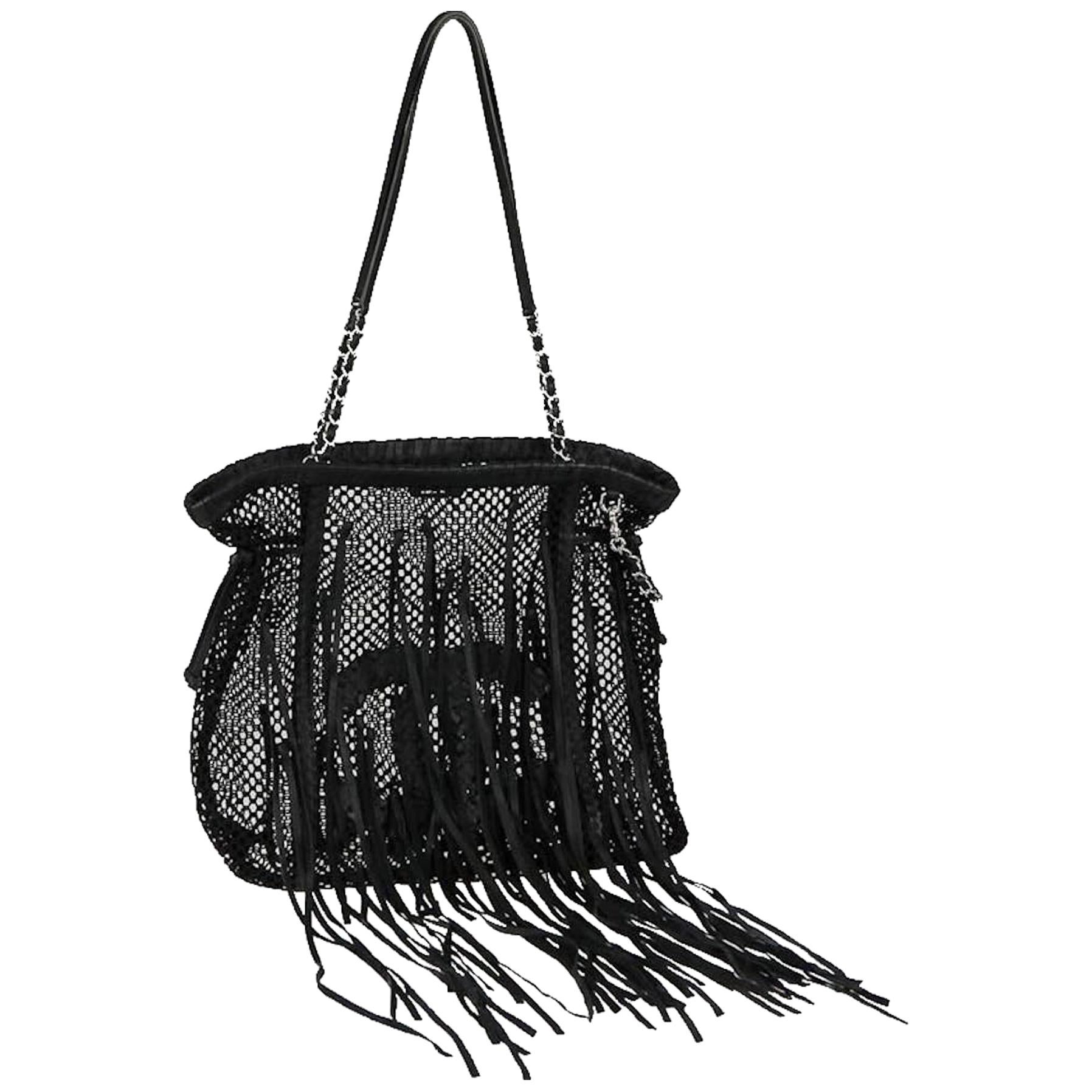 Chanel Limited Edition Resort Fringe Mesh Black Leather Large Tote Rare Soldout