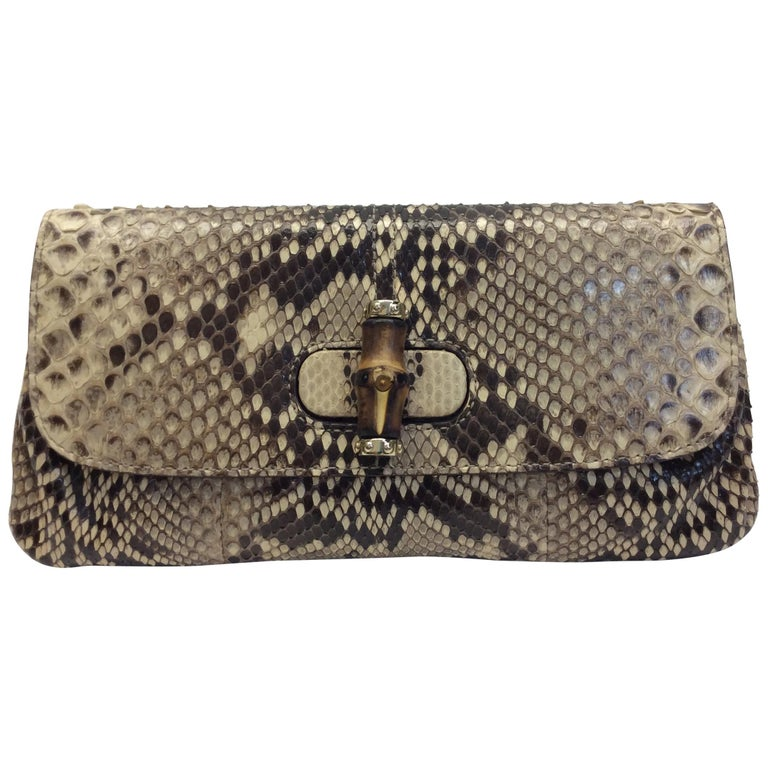 Gucci Tan and Brown Snake Skin Clutch  For Sale