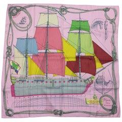 Hermes 'Cheval De Mer' Pink Silk Scarf