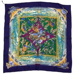 Hermes 'Tropiques' Blue Print Silk Scarf