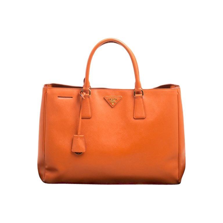 Prada Orange Saffiano Lux Leather Large Gardener S Tote For