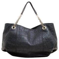 Carolina Herrera Black Monogram Leather Shoulder Bag