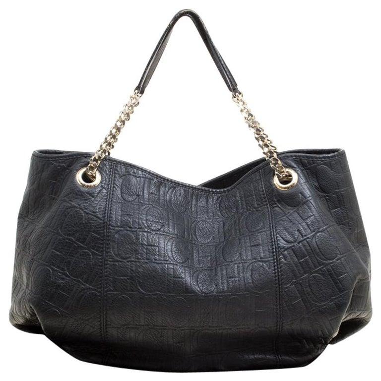 6e306634b409 Carolina Herrera Black Monogram Leather Shoulder Bag For Sale at 1stdibs