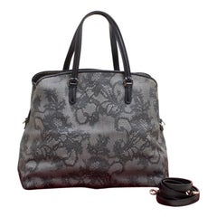 Valentino Grey Lace Print Coated Canvas Satchel