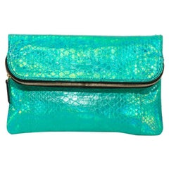 ZAGLIANI Clutch in green/Shiny Blue Python