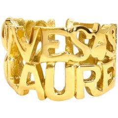 Yves Saint Laurent YSL 90s Vintage Gold Plated Cuff Bracelet