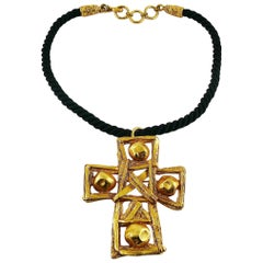 Christian Lacroix Vintage Cross Pendant Necklace