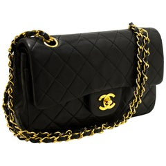 """CHANEL 2.55 Double Flap 9"""" Chain Shoulder Bag Black Quilted Lamb"""