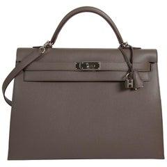 Hermès Kelly 40 Etain Sellier Epsom PHW