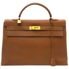 Hermes Kelly 40 Gold Sellier Courchevel GHW