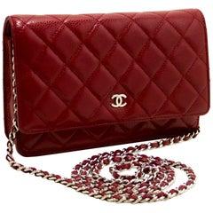 CHANEL Caviar Red WOC Wallet On Chain Shoulder Crossbody Bag