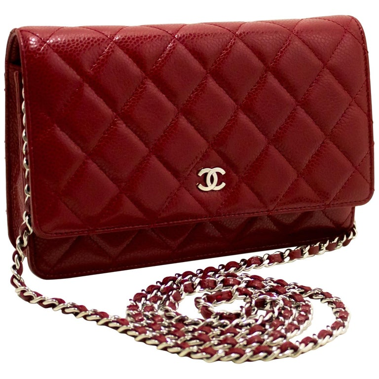CHANEL Caviar Red WOC Wallet On Chain Shoulder Crossbody Bag For Sale
