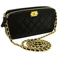 CHANEL Boy Black Caviar WOC Wallet On Chain W Zip Shoulder Bag