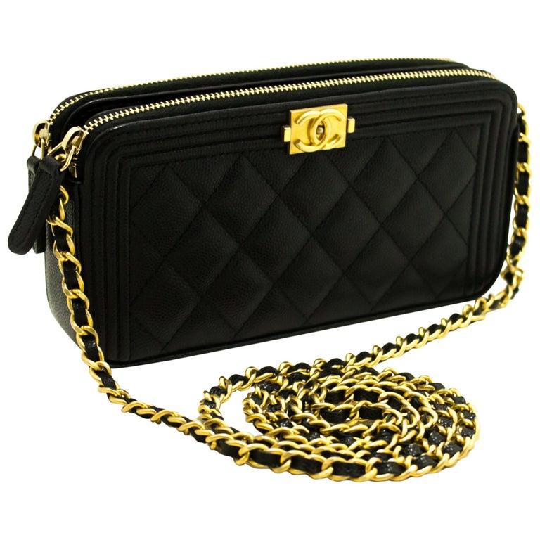 41a8c4dfd2f7 CHANEL Boy Black Caviar WOC Wallet On Chain W Zip Shoulder Bag For Sale