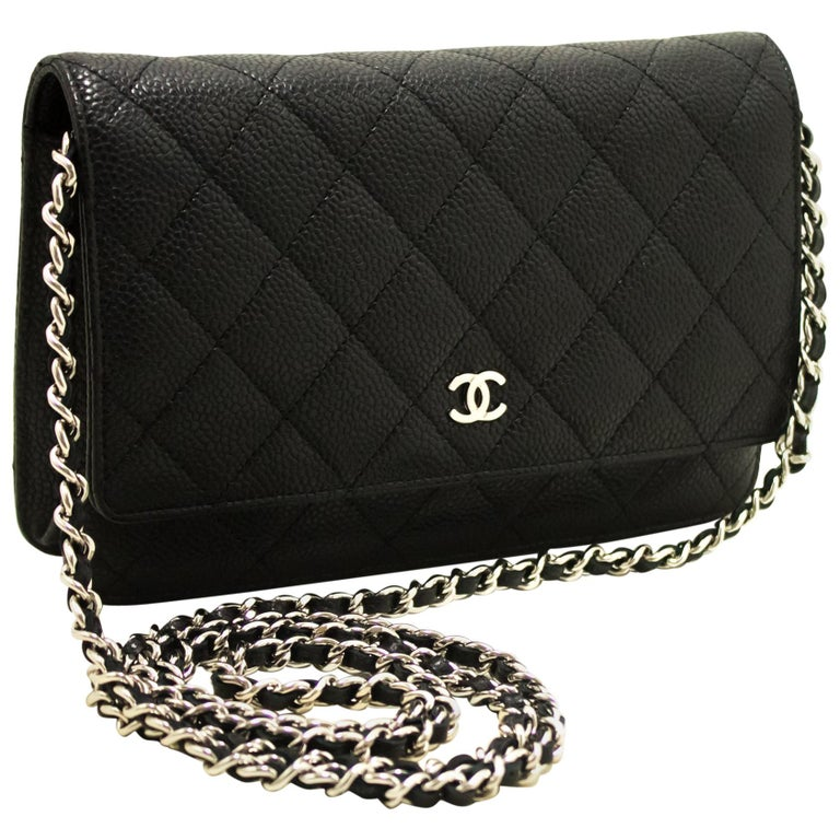 6cacb7585785 CHANEL Caviar WOC Wallet On Chain Black Shoulder Crossbody Bag For Sale
