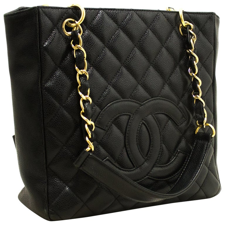 Chanel Caviar Pst Chain Shoulder Ping Tote Bag Black Quilted For