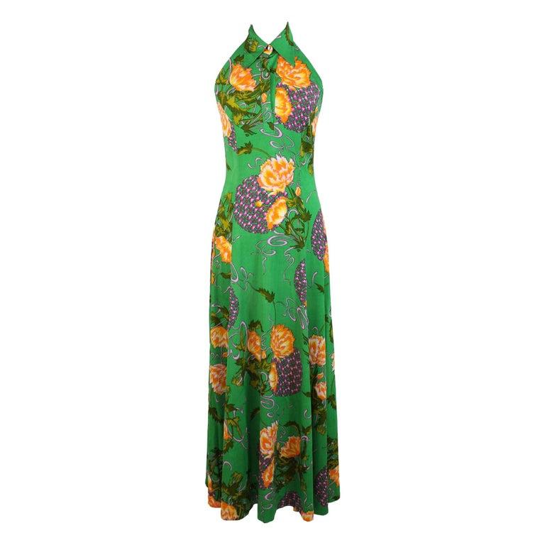 1980s Artisanal Long Cocktail Dress Floral Vintage Green For Sale