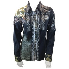 Etro Black Print Button Down Blouse