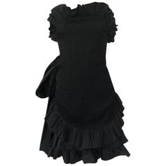 1987 Yves Saint Laurent Strapless Ruffle Silk & Taffeta Mini Dress