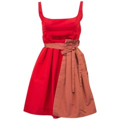 2005 Prada Spring Ready-to-Wear Red Taffeta Cocktail Dress With Apron