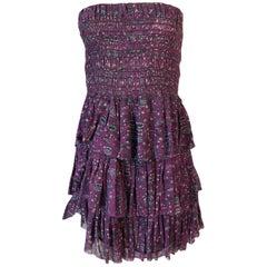 S/S 2011 Isabel Marant Strapless Purple Print Runway Dress Look 3
