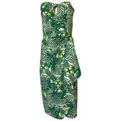 1950s Unlabeled Cotton Hawaiian Green Floral & Pineapple Print Dress