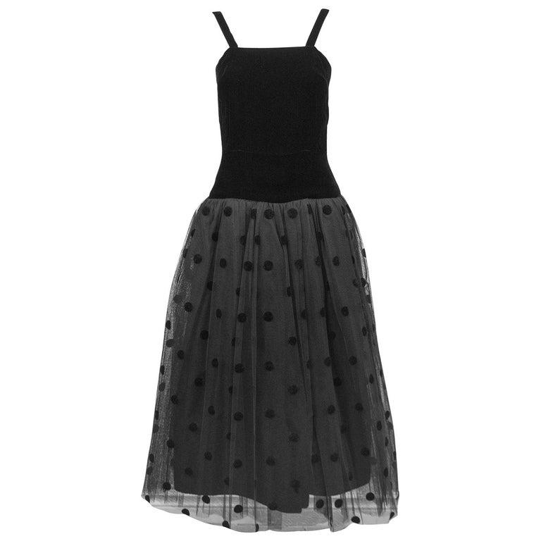 1980s Black Velvet and Tulle Dress For Sale