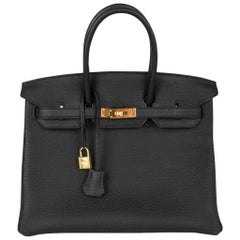 Hermes Birkin 35 Bag Black Togo Gold Hardware Ultimate Classic