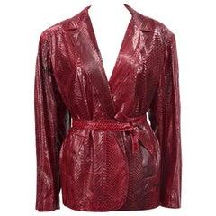 1980s Bordeaux Snakeskin Oversized Belted Blazer