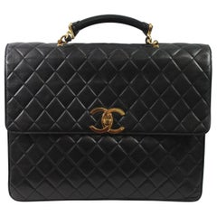 Chanel Maxi Jumbo  Briefcase in Black Lambskin leather