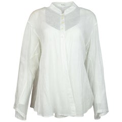 Alaia White Sheer Patterned Long Sleeve Blouse W/ Top Buttons Sz M