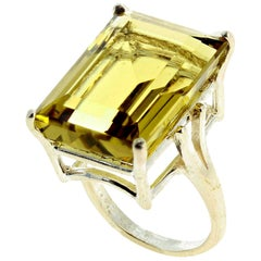 Brilliant Yellow Lemon Quartz Sterling Silver Ring