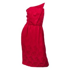 1990s Holiday Lipstick Red Avant Garde Silk Size 4 6 Vintage 90s Strapless Dress