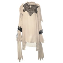 Francesco Scognamiglio French Victorian Silk & Lace Long Sleeve Blouse