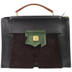 Hermes Vintage 1994 President Briefcase in Leather and Lizard