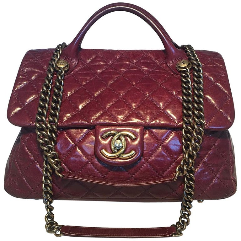 4f5d9d1064f2 Chanel Maroon Distressed Quilted Leather Large Classic Flap Shoulder Bag  For Sale