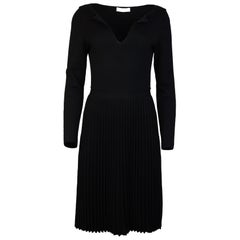 Valentino Black Wool Long Sleeve V Neck Pleated Dress Sz M