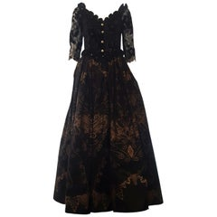 Zandra Rhodes Classic Victorian Black and Gold Gathered Gown