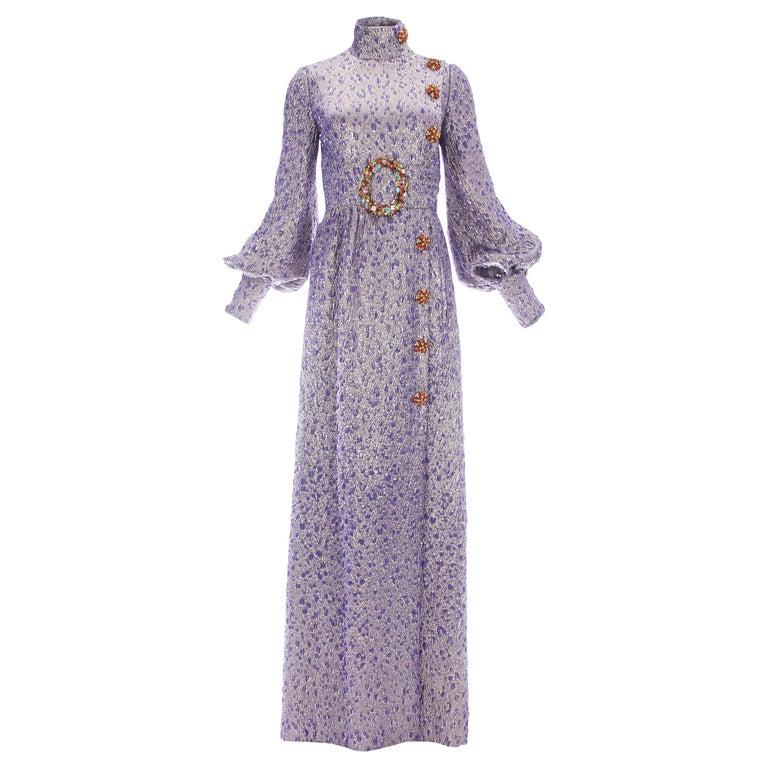 Jean Louis Scherrer haute couture purple lame brocade evening gown, f/w 2005 For Sale