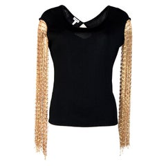 Loewe Black Top W/ Gold Ribbon Fringe Sleeves Sz S