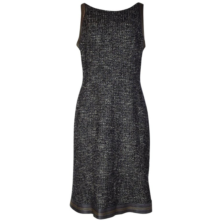Chanel Black/White/Brown Tweed Dress W/ Leather Trim Sz 46 For Sale