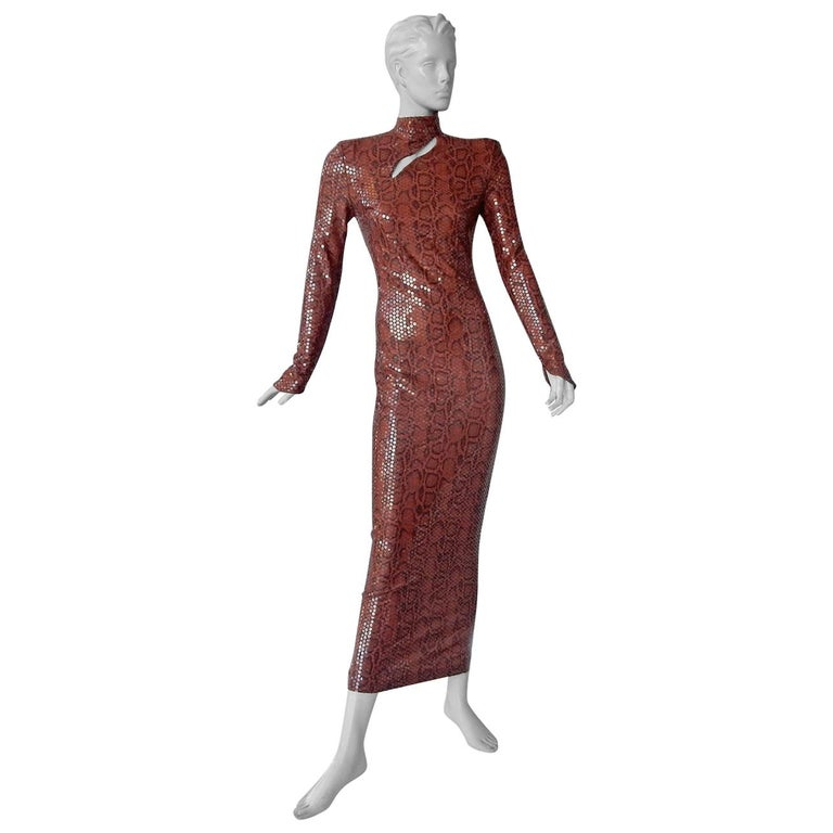 Thierry Mugler 1983 Python Beaded Body Hugging Dress  WOW For Sale