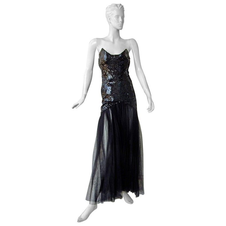 "Thierry Mugler ""Solo in the Spotlight"" Beaded Tulle Mermaid Dress Gown  Rare For Sale"